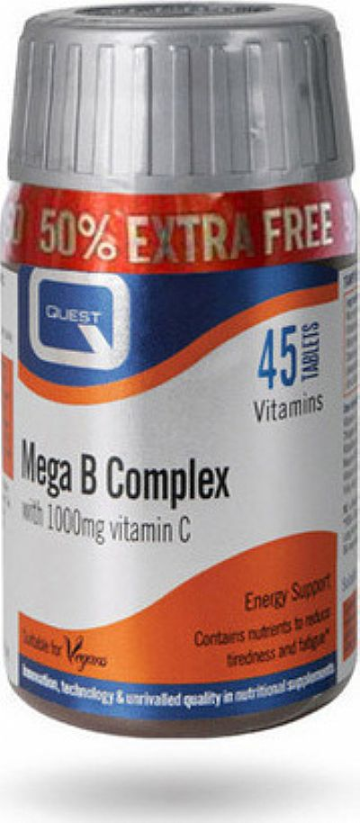 Quest Nutrition Mega B Complex with 1000mg Vitamin C  45 ταμπλέτες